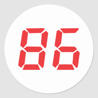 86 eighty-six red alarm clock digital number sticker