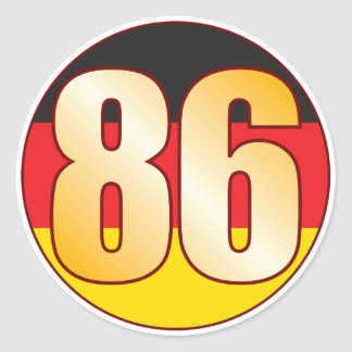86 GERMANY Gold Round Sticker