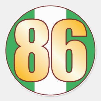 86 NIGERIA Gold Round Sticker