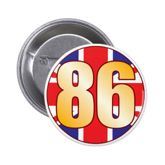 86 UK Gold 6 Cm Round Badge