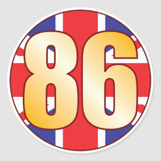 86 UK Gold Round Sticker