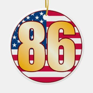 86 USA Gold Round Ceramic Decoration