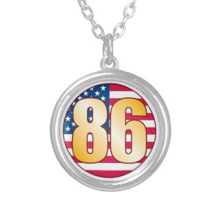 86 USA Gold Round Pendant Necklace