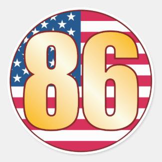 86 USA Gold Round Sticker