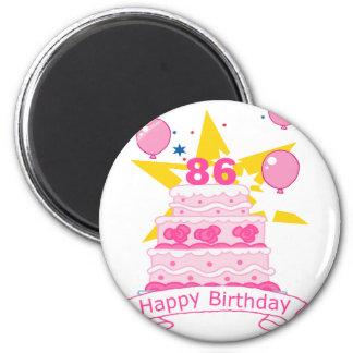 86 Year Old Birthday Cake 6 Cm Round Magnet