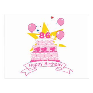 86 Year Old Birthday Cake Postcard