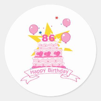 86 Year Old Birthday Cake Round Sticker