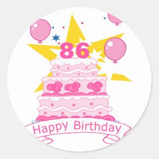 86 Year Old Birthday Cake Classic Round Sticker