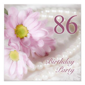 86th Birthday party invitation with daisies