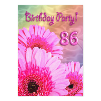 86th Birthday party invitation with pink flowers