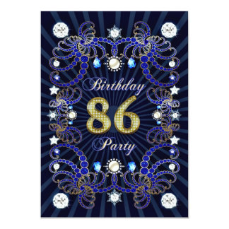 86th birthday party invite with masses of jewels
