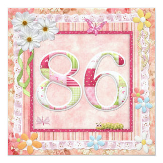 86th birthday party scrapbooking style 13 cm x 13 cm square invitation card