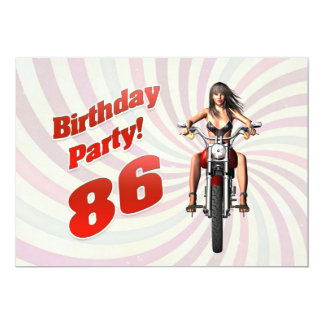 86th birthday party with a girl on a motorbike 13 cm x 18 cm invitation card