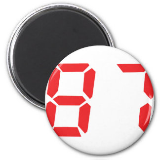 87 eighty-seven red alarm clock digital number magnet