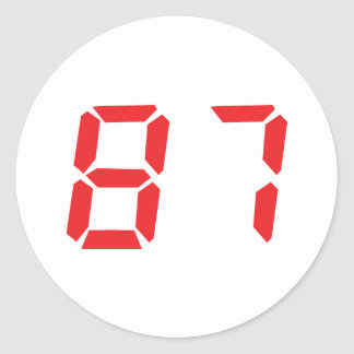 87 eighty-seven red alarm clock digital number round stickers