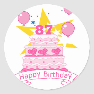 87 Year Old Birthday Cake Classic Round Sticker