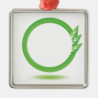 87Greewn Label_rasterized Metal Ornament