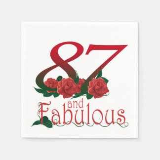 87th Birthday or Number 87 Cocktail Paper Napkins