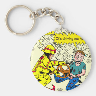 882 Its driving me nuts cartoon Basic Round Button Key Ring