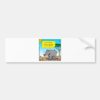 886 rhino tickle cartoon bumper sticker