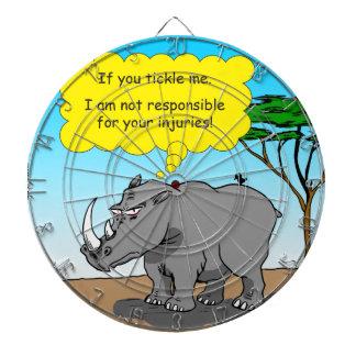 886 rhino tickle cartoon dartboard with darts