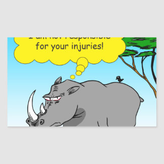 886 rhino tickle cartoon rectangular sticker