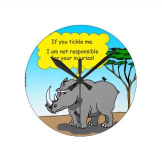 886 rhino tickle cartoon round clock