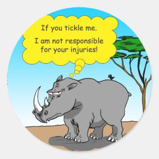 886 rhino tickle cartoon round sticker