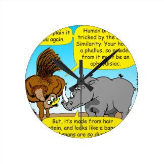 889 Rhino phallus cartoon Round Clock