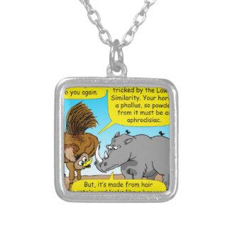 889 Rhino phallus cartoon Silver Plated Necklace