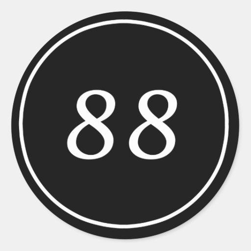 88 Circle Black Sticker