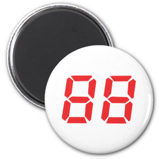 88 eighty-eight red alarm clock digital number 6 cm round magnet