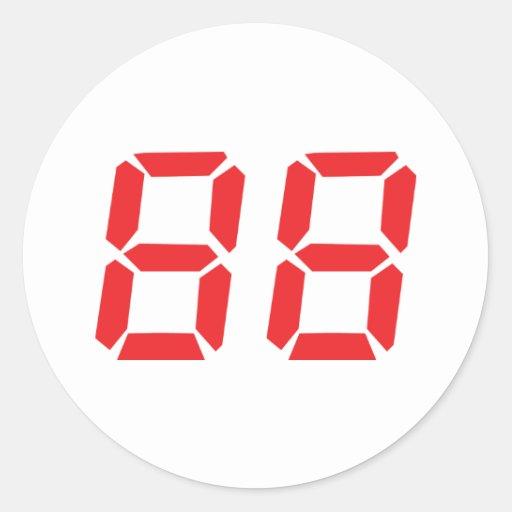 88 eighty-eight red alarm clock digital number round sticker