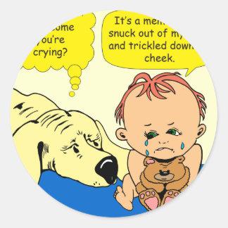 891 Memory tear cartoon Classic Round Sticker