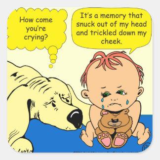 891 Memory tear cartoon Square Sticker