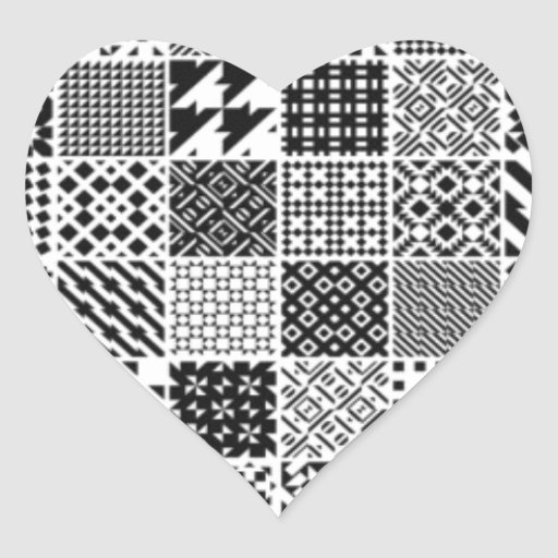 891-MonochromeGeometric BLACK WHITE GREY SQUARE GR Heart Stickers
