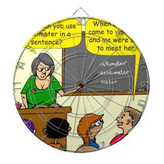 893 Centimeters play on word school cartoon Dartboard