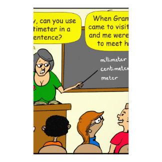 893 Centimeters play on word school cartoon Stationery