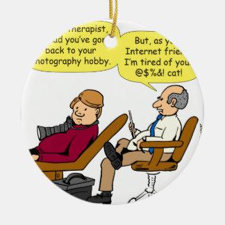 894 tired of your cat cartoon ceramic ornament