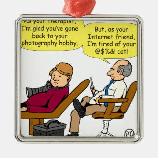 894 tired of your cat cartoon metal ornament