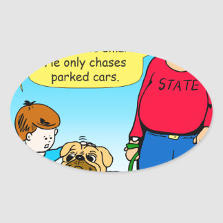 895 dog chases parked cars cartoon oval sticker