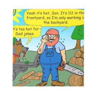 899 111 in front yard bad dad joke cartoon notepad