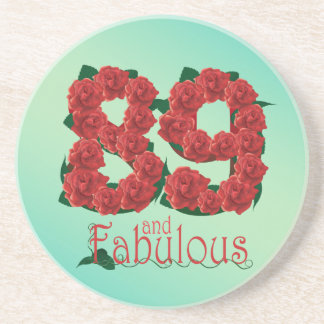 89 and fabulous 89th birthday red roses floral beverage coasters