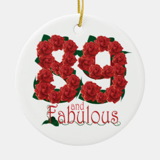 89 and fabulous 89th birthday red roses floral ceramic ornament