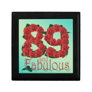 89 and fabulous 89th birthday red roses floral gift box