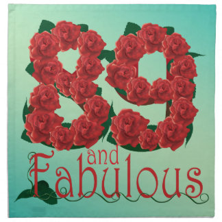 89 and fabulous 89th birthday red roses floral napkin