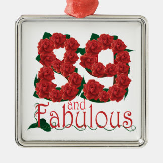 89 and fabulous 89th birthday red roses floral Silver-Colored square decoration