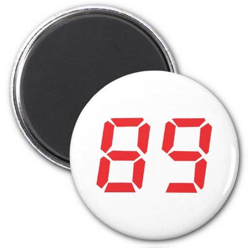 89 eighty-nine red alarm clock digital number fridge magnet