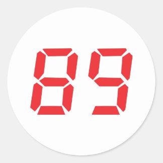 89 eighty-nine red alarm clock digital number round sticker