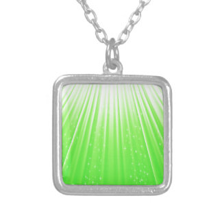 89Green Rays_rasterized Silver Plated Necklace